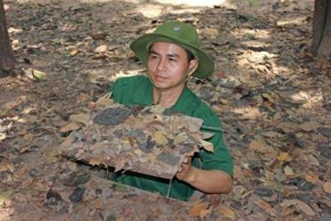 A tourist destination showing old Viet Cong tunnels.